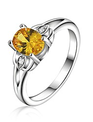 925 Silver Plated Yellow Crystal Statement Rings Wedding/Party/Daily/Casual 1pc