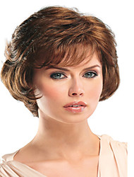 Women Synthetic Brown color Wig Wavy Medium Synthetic Hair Wig