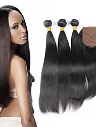 Unprocessed 100% Brazilian Virgin Hair Straight Extention 3 Bundles With 4*4 Silk Closure Top Quality Grade 7A