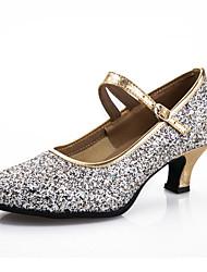 Women's Dance Shoes Latin Leatherette / Paillette Chunky Heel Black / Blue / Purple / Silver / Gold