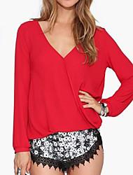 Women's Solid Red / White / Black / Green Blouse , V Neck Long Sleeve