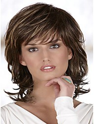 Fashion Lady Short Brown Blonde Mixed Curly Cosplay Synthetic Wigs