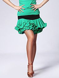 Imported Nylon Viscose with Ruffles Latin Dance Skirts for Women's Performance (More Colors)