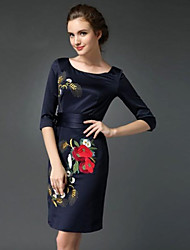 Women's Round Collar Cheongsam Embroidered Plus Size Dress