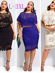 kurvige mm Frauen einfarbig blau / schwarz / beige Kleider, sexy runde Kurzhülse plus Größe