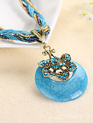 Necklace Pendant Necklaces Jewelry Party / Daily / Casual Alloy / RhinestoneDark Blue / Rose / Black / Yellow / Red / Blue / Orange /