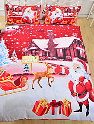 Bedding Christmas Night Home Textiles Hot Red Santa Claus Printed Bed Sheet Family Linen 3Pcs Twin Full Queen