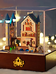 Cabin Merry-Go-Round Castle Creative Gift Toys DIY Wood Dollhouse Including All Furniture Lights Lamp LED