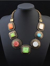 Fashion Personality Exaggerated Large Circular Square Bohemian Style Colorful Gemstone Pendant Necklace