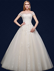 Ball Gown Wedding Dress - Ivory Floor-length Off-the-shoulder Tulle