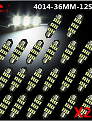 20X NEW White 36mm 12 4014 SMD Festoon Dome Map Interior LED Light Lamp DE3175 3022 12V