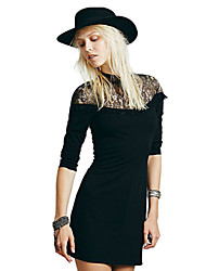 Women's Lace Black Dress , Casual Round Neck Long Sleeve