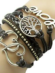 Vintage European Multistorey Alloy Leather Bracelet Wrap Bracelets 1pc Christmas Gifts