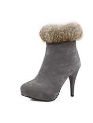 Women's Shoes Fleece Winter Platform / Round Toe Outdoor / Casual Stiletto Heel Zipper Black / Gray / Burgundy