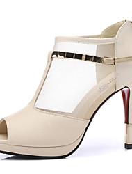 Черный / Бежевый - Женская обувь - Для офиса / На каждый день / Для вечеринки / ужина - Синтетика / Тюль - На шпильке -На каблуках / С