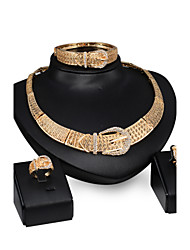 Women Wedding Bridal Hollow Belt Buckle Gold Clavicle Chain Earrings Ring Bracelet Four - piece