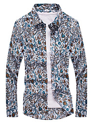 Wild pattern shirt fashion Slim thin section long-sleeved shirt Plus Size