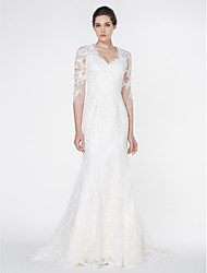 Mermaid / Trumpet V-neck Court Train Tulle Wedding Dress with Appliques Lace by LAN TING BRIDE®