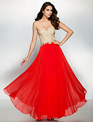 Formal Evening Dress A-line Sweetheart Ankle-length Chiffon / Lace with Appliques