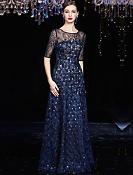 Formal Evening Dress - Dark Navy A-line Jewel Floor-length Lace / Charmeuse