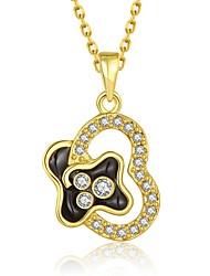 Fashion Diamond Heart Multicolor Gold-Plated Pendant Necklace(Golden,Rose Gold,White)(1PC)