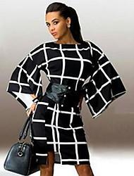 Women's Print Fashion Slim All Match Dress , Casual / Work Round Neck ¾ Sleeve