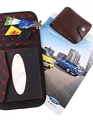 ZIQIAO PU Leather Car Sun Visor Paper Towel Box CD / DVD Holder