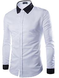 Camisa Casual ( Algodão ) MEN - Casual / Trabalho Colarinho Pan - Manga Comprida