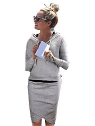 Women's Casual/Daily Simple Fall Set,Solid Round Neck Long Sleeve Black / Gray Cotton Opaque