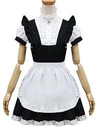 Black and White Polyester Maid Costume Type15