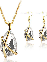May Polly Fashion retro Crystal Pendant Necklace Earrings Set