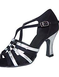 Non Customizable Women's Dance Shoes Latin / Swing /Salsa / Samba /Leatherette Chunky HeelBlack / Brown / Silver/Gold/