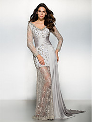 TS Couture Formal Evening Dress - See Through Sheath / Column V-neck Watteau Train Chiffon Lace with Lace