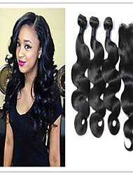 4pcs / lot onda do corpo do cabelo humano de melhor qualidade malaio virgem com fechamento superior do laço extensões de cabelo cabelo