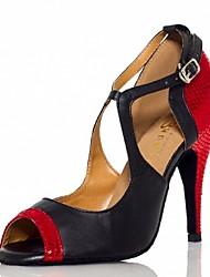 Chaussures de danse(Rouge) -Non Personnalisables-Talon Aiguille-Cuir-Salsa