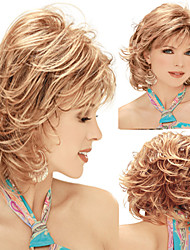 Fashionable Sweet Full Bang Gloden Medium Length Curly Synthetic Hair Wig