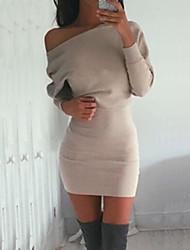 Women's Hot Sale Bateau Batwing Sleeve Bodycon Solid Mini Dress