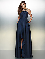 A-Line Jewel Neck Asymmetrical Taffeta Prom Formal Evening Dress with Crystal Detailing by TS Couture®