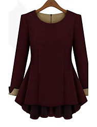 Women's Plus Size Solid Red/Black/Beige T-shirt,Casual/Work Round Neck Long Sleeve