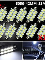 10 x 41 mm weiß 5050 8SMD Girlandekarte Innenraum LED-Lampen de3423 6418