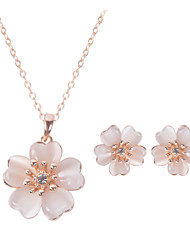 Women Wedding Bridal Fresh Opal Flower Pendants Necklace Clavicle Chain Earrings Two-piece