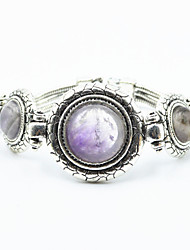 Vintage Look Antique Silver Plated Alloy Amethyst Turquoise Stone Women Bracelet(1PC)
