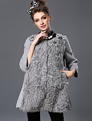 Winter Europe Women's Fashion Vintage Luxury Elegant Bead Woolen Patchwork Fur Loose Coat Jacket