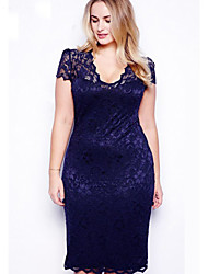Women's Sexy Bodycon Casual Lace Plus Sizes Inelastic Short Sleeve Above Knee Dress (Lace)