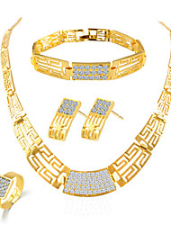 Fashion Zircon Shining Jewelry Set(Necklace&Earring&Bracelet&Ring)
