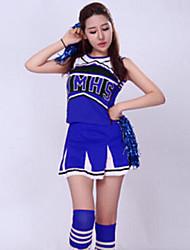 Fantasias para Cheerleader Roupa Mulheres Actuação Poliéster Bordado 2 Peças Sem Mangas Alto Saia / Top 72-76cm