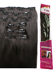 Ibeshion Full End 100% Remy Hair Clip In Hair Extensions 110 grams 7 pcs 16 Clips #1b Black #2 #4 #6 Brown