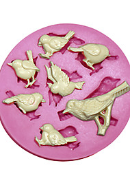 New 7 Cavity Cute Bird Silicone Fondant Cake Chocolate Mould Kitchen Baking Tool