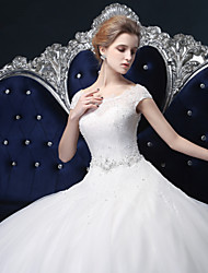 Ball Gown Wedding Dress - White Floor-length Off-the-shoulder Lace / Satin / Tulle