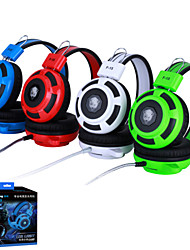 Over-ear Game Headset Earphone Headband w/ Mic Stereo Bass LED Light for PC - four color optional